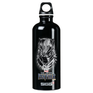 Black Panther | Black & White Head Sketch Water Bottle