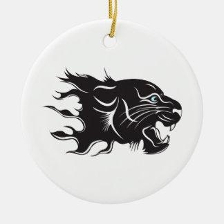 Black Panther Blue Eyes Ceramic Ornament