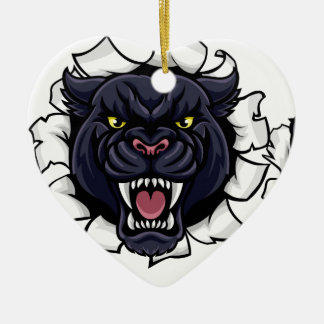 Black Panther Bowling Mascot Breaking Background Ceramic Ornament