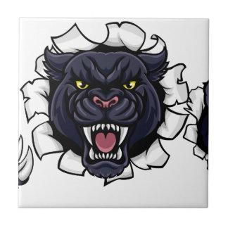 Black Panther Bowling Mascot Breaking Background Ceramic Tile