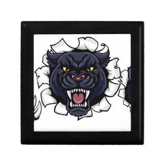 Black Panther Bowling Mascot Breaking Background Gift Box