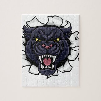 Black Panther Bowling Mascot Breaking Background Jigsaw Puzzle
