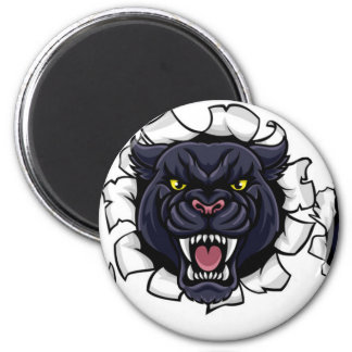 Black Panther Bowling Mascot Breaking Background Magnet
