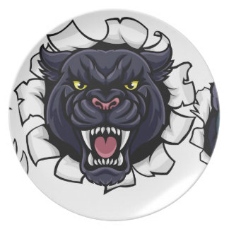 Black Panther Bowling Mascot Breaking Background Plate