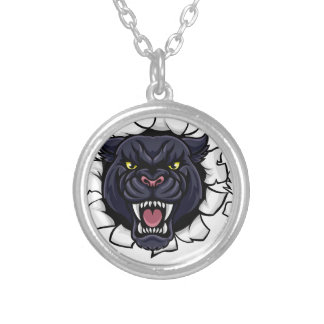 Black Panther Bowling Mascot Breaking Background Silver Plated Necklace