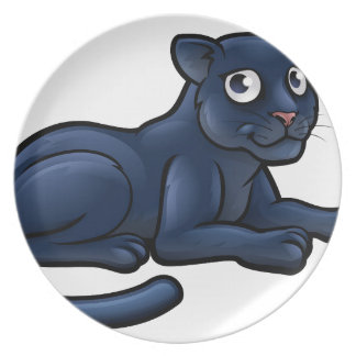Black Panther Cartoon Character Plate