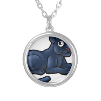 Black Panther Cartoon Character Silver Plated Necklace