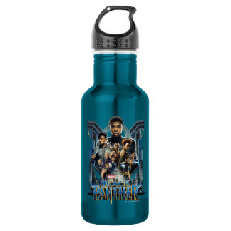 Black Panther   Characters Over Wakanda 532 Ml Water Bottle