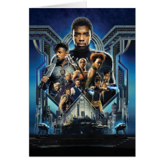 Black Panther   Characters Over Wakanda Card