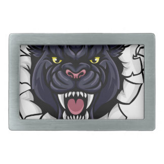 Black Panther Cricket Mascot Breaking Background Belt Buckles