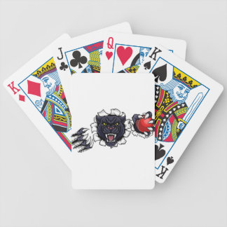 Black Panther Cricket Mascot Breaking Background Bicycle Playing Cards