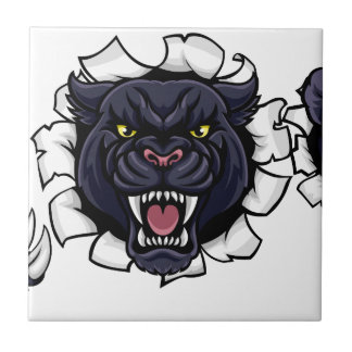 Black Panther Cricket Mascot Breaking Background Ceramic Tile