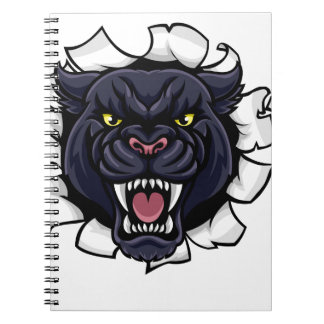 Black Panther Cricket Mascot Breaking Background Notebooks