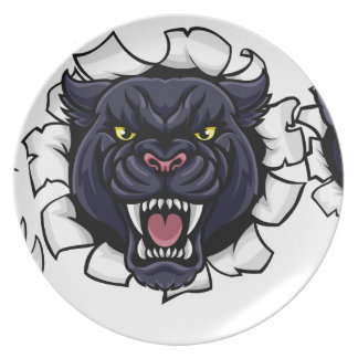 Black Panther Cricket Mascot Breaking Background Plate