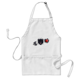 Black Panther Cricket Mascot Breaking Background Standard Apron