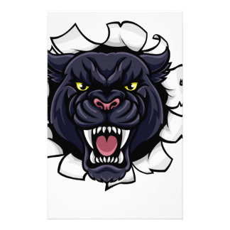 Black Panther Cricket Mascot Breaking Background Stationery