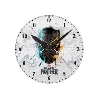 Black Panther | Dual Panthers Street Art Round Clock