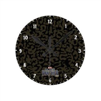 Black Panther | Erik Killmonger Panther Pattern Round Clock
