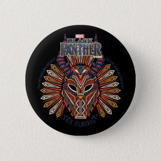 Black Panther | Erik Killmonger Tribal Mask Icon 6 Cm Round Badge