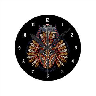 Black Panther | Erik Killmonger Tribal Mask Icon Round Clock