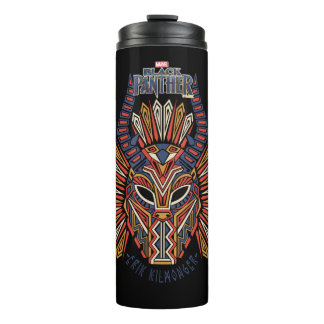Black Panther | Erik Killmonger Tribal Mask Icon Thermal Tumbler