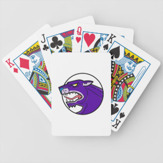 Black Panther Growling Mono Line Bicycle Playing Cards