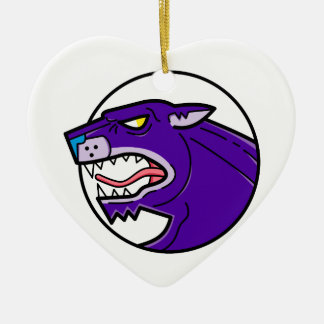 Black Panther Growling Mono Line Ceramic Ornament