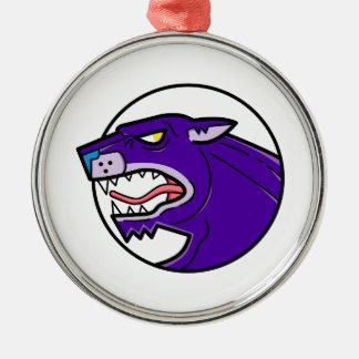 Black Panther Growling Mono Line Metal Ornament