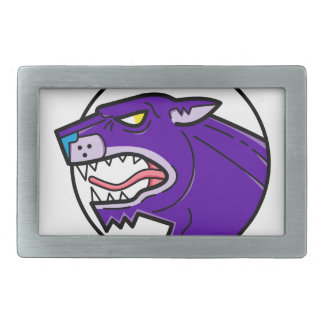 Black Panther Growling Mono Line Rectangular Belt Buckle