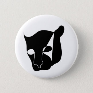 black panther head 6 cm round badge