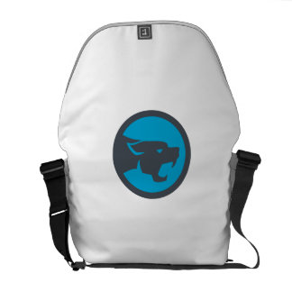 Black Panther Head Growling Circle Retro Commuter Bag