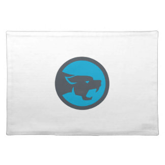 Black Panther Head Growling Circle Retro Placemat