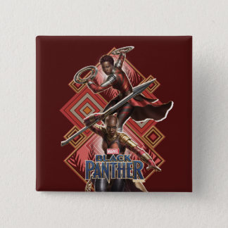 Black Panther | Nakia & Okoye Wakandan Graphic 15 Cm Square Badge