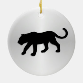 Black Panther on Silver Ceramic Ornament