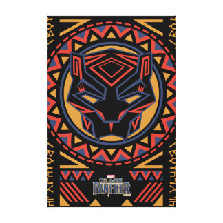 Black Panther | Panther Head Tribal Pattern Canvas Print