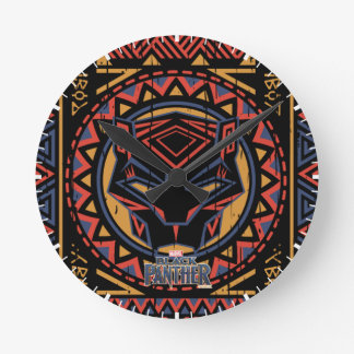 Black Panther | Panther Head Tribal Pattern Round Clock