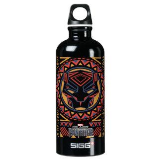 Black Panther   Panther Head Tribal Pattern Water Bottle