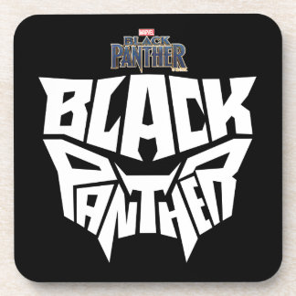 Black Panther | Panther Head Typography Graphic Coaster