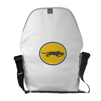 Black Panther Prowling Oval Retro Courier Bags