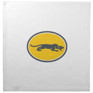 Black Panther Prowling Oval Retro Napkin