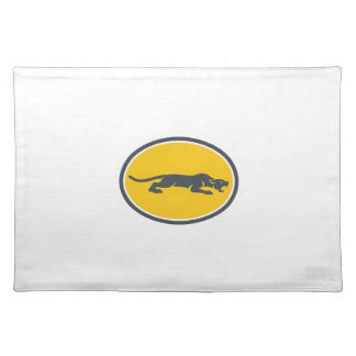 Black Panther Prowling Oval Retro Placemat
