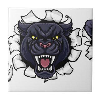 Black Panther Soccer Mascot Breaking Background Ceramic Tile