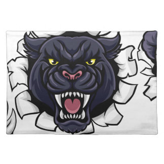 Black Panther Soccer Mascot Breaking Background Placemat