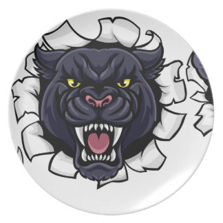 Black Panther Soccer Mascot Breaking Background Plate