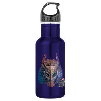 Black Panther   Tribal Mask Overlaid Art 532 Ml Water Bottle