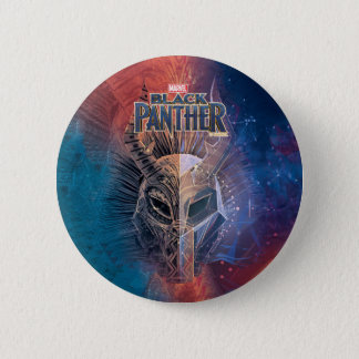 Black Panther | Tribal Mask Overlaid Art 6 Cm Round Badge