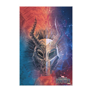 Black Panther | Tribal Mask Overlaid Art Canvas Print