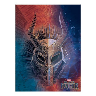 Black Panther | Tribal Mask Overlaid Art Poster