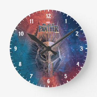 Black Panther | Tribal Mask Overlaid Art Round Clock