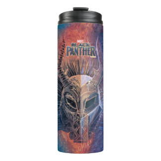 Black Panther | Tribal Mask Overlaid Art Thermal Tumbler